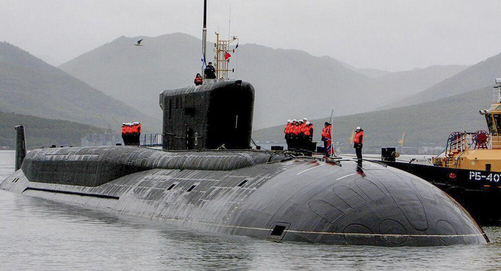 مراسم عودة الغواصة ألكسندر نيفسكي، وهي غواصة نووية من فئة بوري-أ (مشروع 955) في قاعدة فيليوتشينسك.