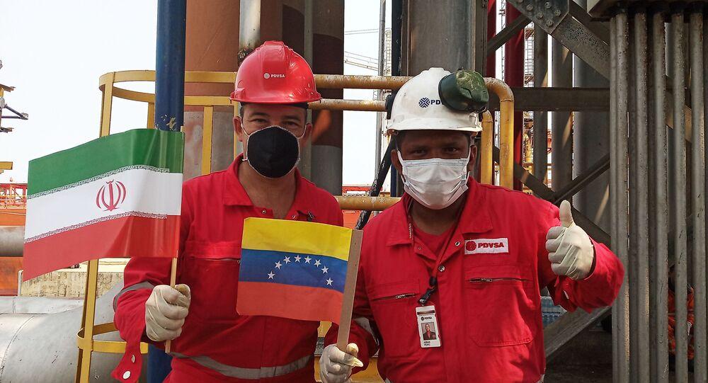 وصول ناقلة نفط فورتشن، أولى الشحنات النفطية من إيران إلى فنزويلا، معمل إل باليتو، 25 مايو 2020
