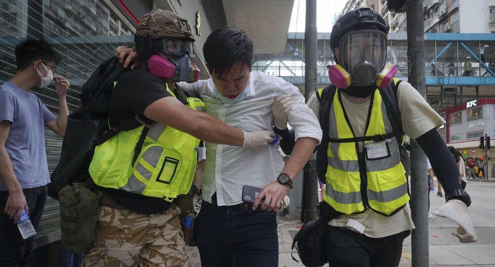 عودة الاحتجاجات والاشتباكات في هونغ كونغ، 24 مايو 2020
