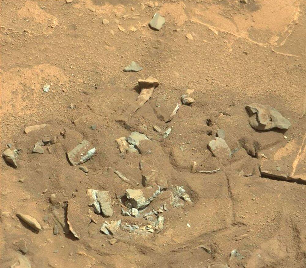 المركبة المتجولة على المريخ كيوريوسيتي روفر (كيوريوسيتي روفر) التقطت هذه الصورة بعدستها ماست كام.  قد تبدو صخرة المريخ هذه مثل عظم الفخذ. ويعتقد أعضاء فريق البعثة العلمية أنها تكونت على الأرجح بفعل عوامل التعرية إما الرياح أو الماء.