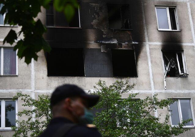 حريق في منزل في موسكو