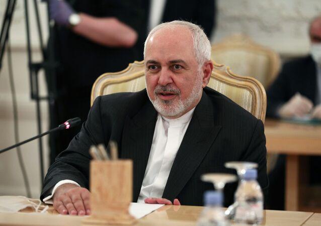 مؤتمر صحفي مشترك لوزير الخارجية الروسي سيرغي لافروف ونظيره الإيراني محمد جواد ظريف في موسكو، 16 يونيو 2020