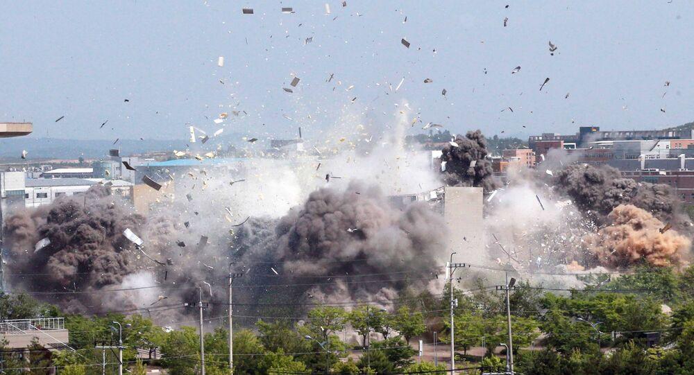 كوريا الشمالية تنشر صور لحظات تفجير مكتب الاتصال المشترك بين الكوريتين