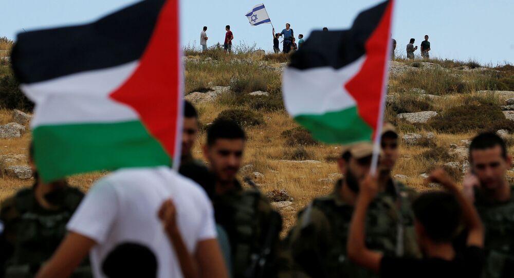مستوطنات الضفة الغربية المحتلة، قرية السوسية، اشتباكات بين الفلسطينيين وشرطة الحدود الإسرائيلية بالقرب من الخليل، 19 يونيو 2020
