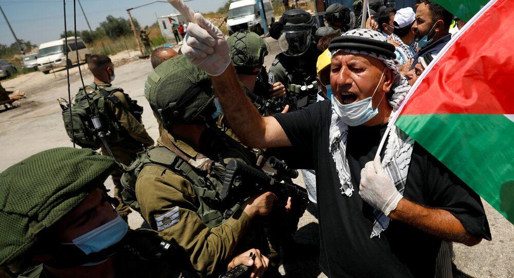 مظاهرات ضد خطة الضم الإسرائيلية، المستوطنات، حارس، الضفة الغربية، 26 يونيو 2020