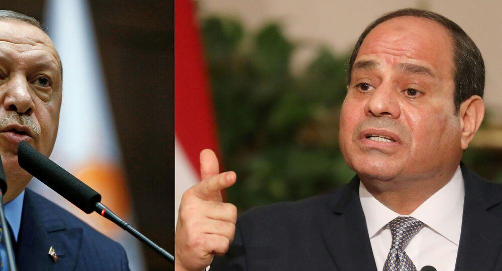 الرئيس المصري عبد الفتاح السيسي، ونظيره التركي رجب طيب أردوغان، مصر، تركيا 22 يونيو 2020