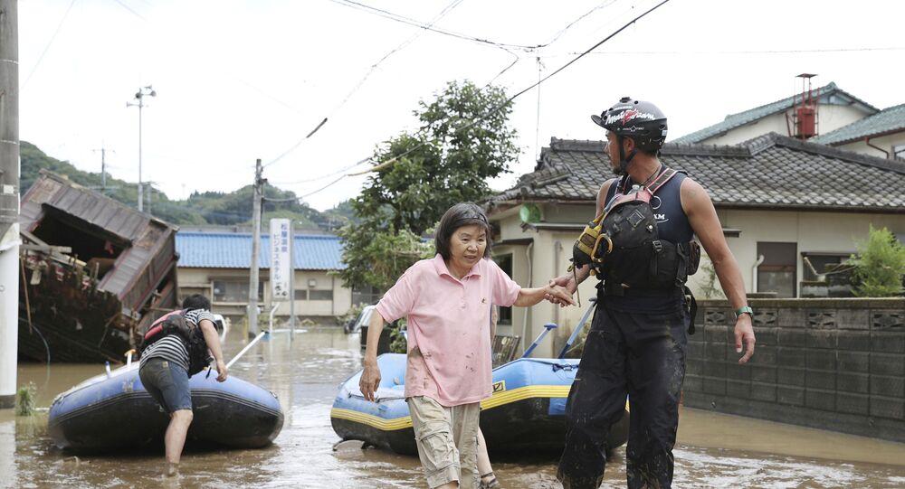 فيضانات في جزيرة كيوشو  في اليابان
