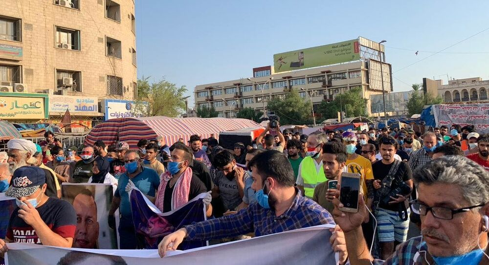 احتجاجات غاضبة وسط بغداد إثر اغتيال الهاشمي