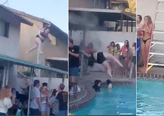 شاهد ماذا حدث لفتاة أرادت القفز إلى المسبح من سطح البناء